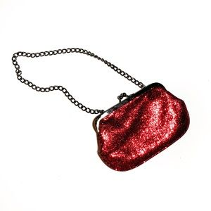EXPRESS Vintage Red Glitter Clutch with Chain